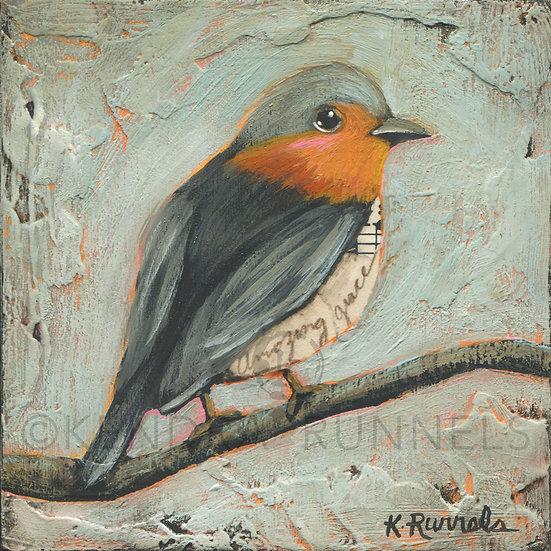 Robin Study #2  - Original Mixed Media Painting