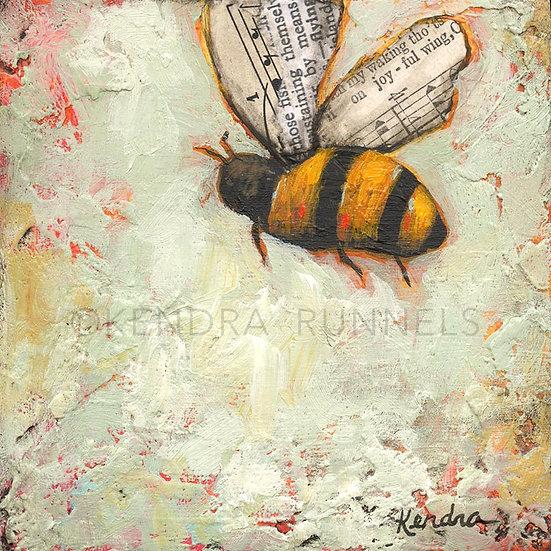 "Bee Study #2 - 4""x4"" Original Mixed Media Painting"