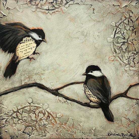 """Bird Study 12""""x12"""" - Original Mixed Media Painting"""