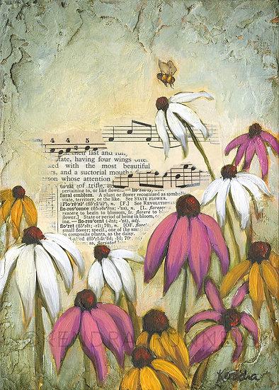 "Wildflower Study #2 - 5""x7"" Original Mixed Media Painting"