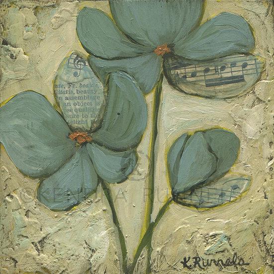 Blue Poppy Study #3 - Original Mixed Media Painting