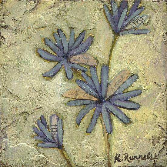 Blue Wildflower Study - Original Mixed Media Painting