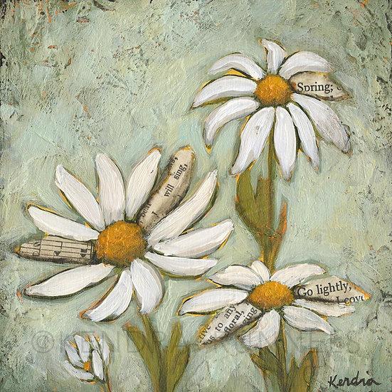 """Daisy Study #2 - 5""""x5"""" Original Mixed Media Painting"""