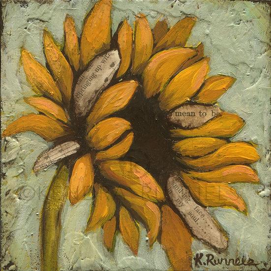 Sunflower Study #2 - Original Mixed Media Painting