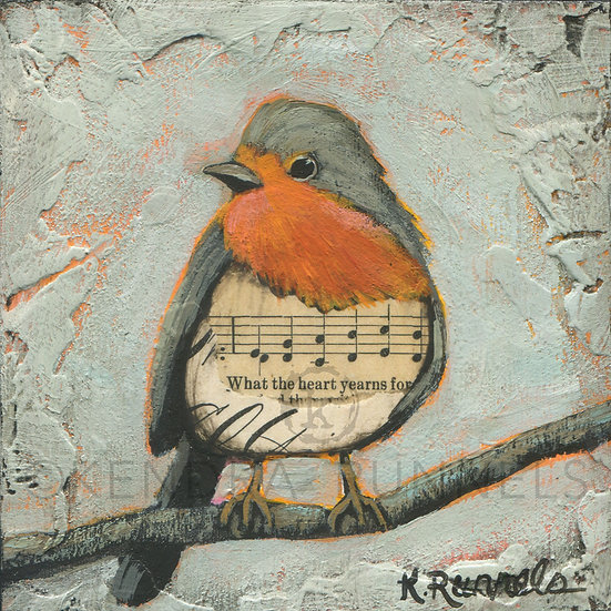 Robin Study #1  - Original Mixed Media Painting