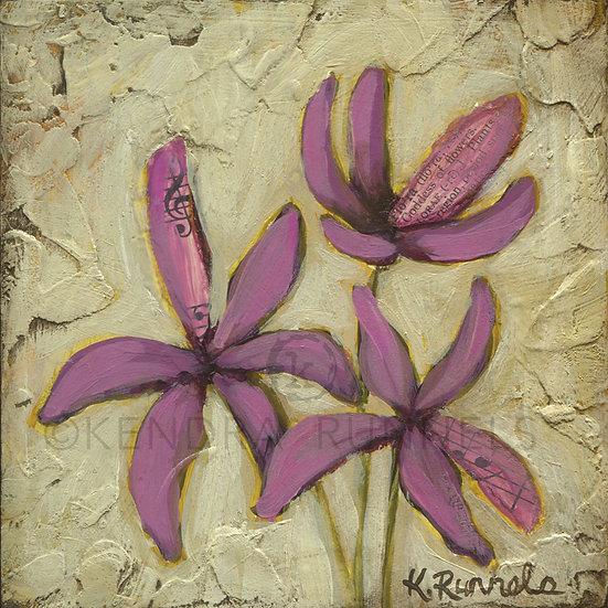 Purple Wildflower Study - Original Mixed Media Painting