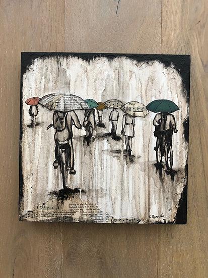 "Rain Study 12""x12"" - Original Mixed Media Painting"