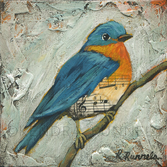 Bluebird Study #2  - Original Mixed Media Painting