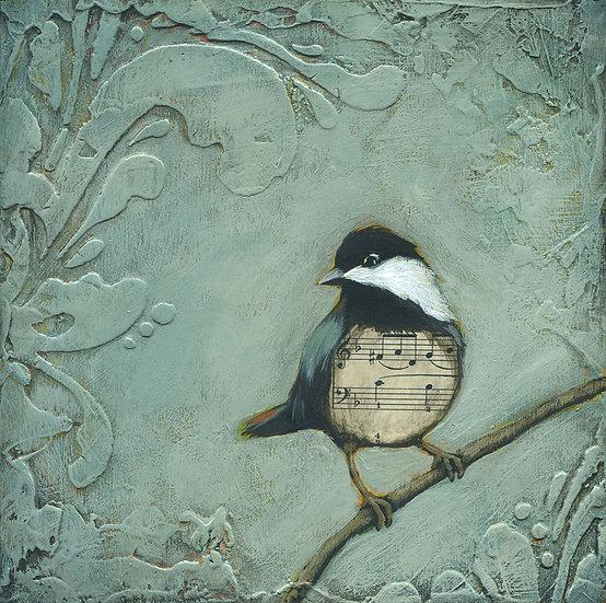 "Chickadee #3 8""x8"" - Original Mixed Media Painting"