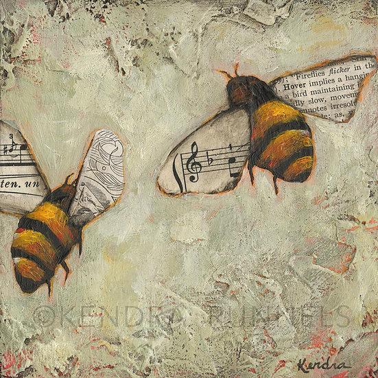 "Bee Study #3 - 5""x5"" Original Mixed Media Painting"