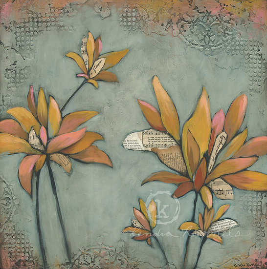 Yellow Dahlia's #2 - Original Mixed Media Painting
