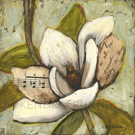 "Magnolia Study #2 - 5""x5"" Original Mixed Media Painting"