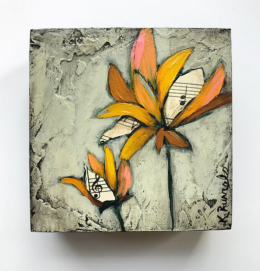 "Flower Study 4""x4"" - Original Mixed Media Painting"