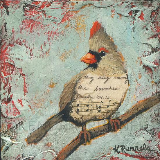 Cardinal Study #4 - Original Mixed Media Painting