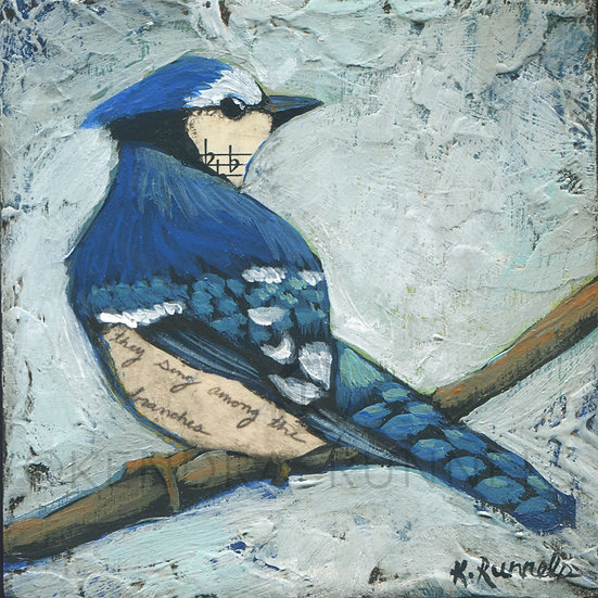 Bluejay Study #1 - Original Mixed Media Painting