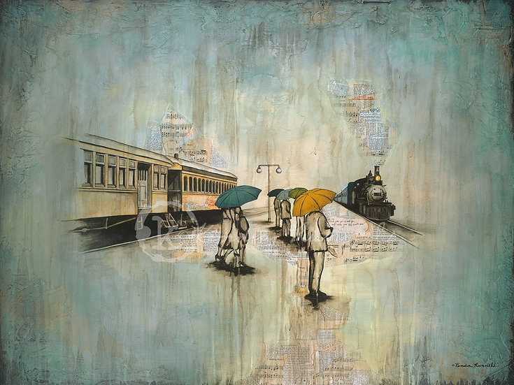 Changing Trains - Original Mixed Media Painting