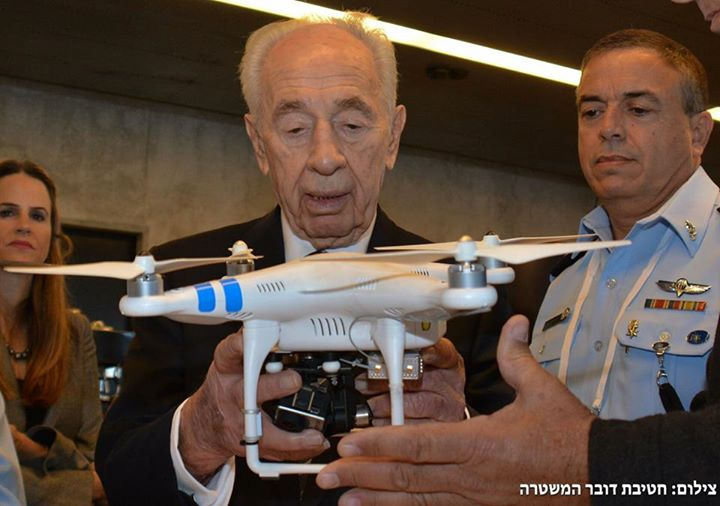 Shimon Peres with a phantom