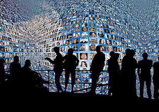 Big screen with collage of images