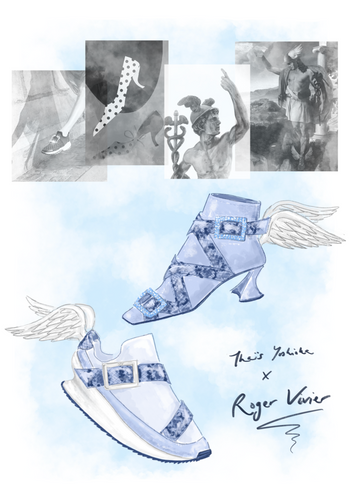 If I designed for Roger Vivier... Inspired by their archive and the Greek God Hermes with his serpent staff and winged shoes.