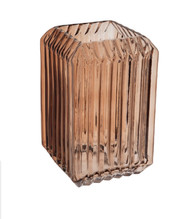 Brown Ridged Glass Vase