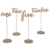 Tall Wood Cursive Table Numbers