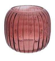 Burgundy Ridged Glass Vase
