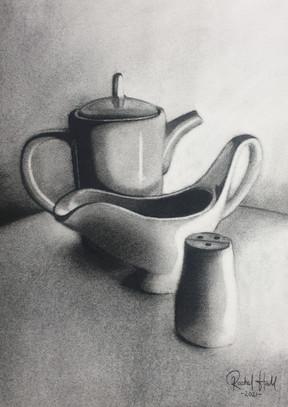 Tea pot, gravy boat and salt shaker, 2021.