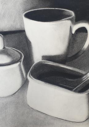 Mug, sugar pot and spoon, 2021.
