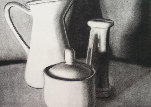 Creamer, candle holder, sugar pot, 2021.