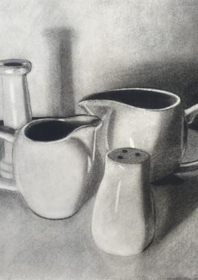 Cream pots, candlestick and salt shaker, 2021.