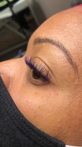 6D Volume with Purple & Blue colored lashes