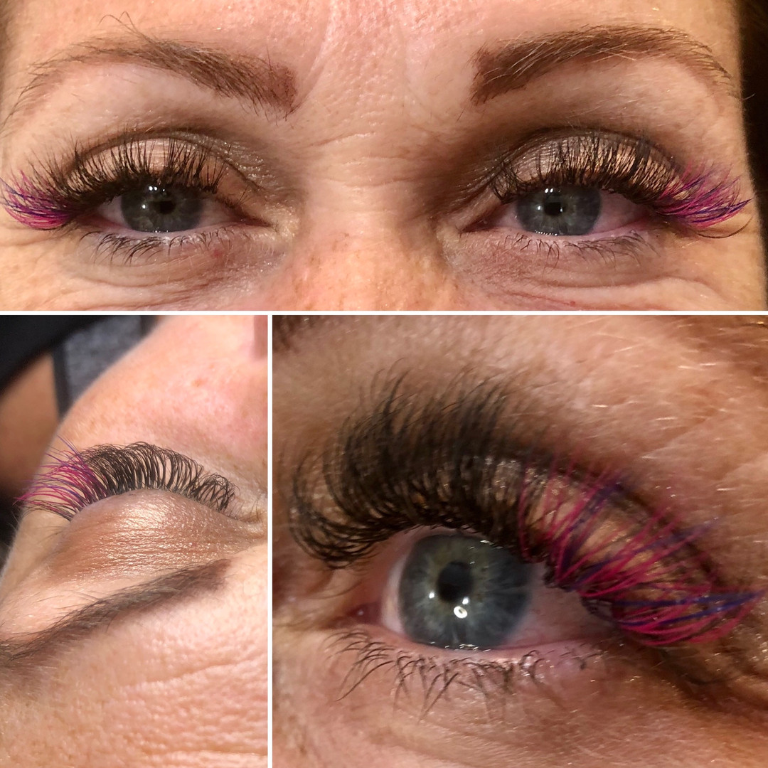 6D Volume with Pink Colored lashes