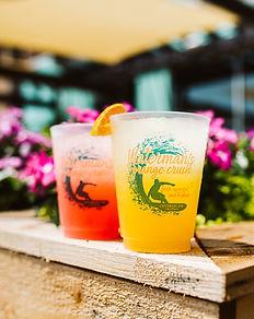 Waterman's drink menu with photo of orange crush and ruby red crush