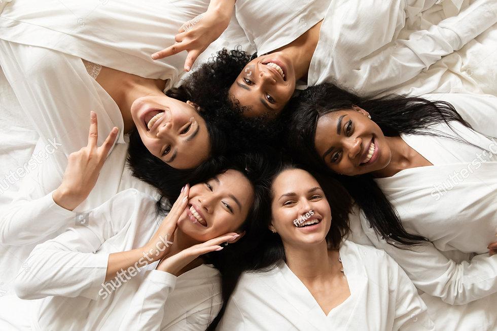 stock-photo-top-view-five-diverse-women-