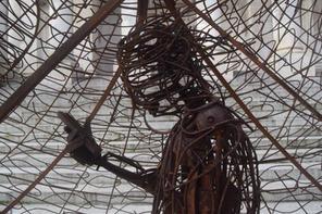 Man inside Treadgoldfish sculpture GH 1.