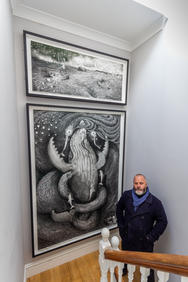 """""""…. When you arrange a commission, you hope that, at the end of the journey, you'll get what you picture in your mind. With Pete, his imagination and skill has meant the final result has gone beyond and far exceeded our expectations.""""           Pete Codling with his drawing Bountiful.   Photo by Paul Gonella - Strong Island Media"""