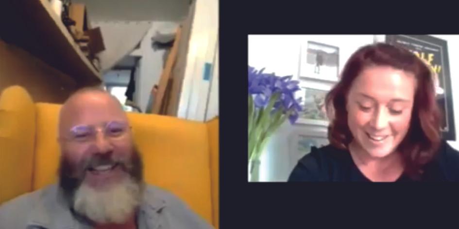 Pete Codling talking to Susan Ward Curat