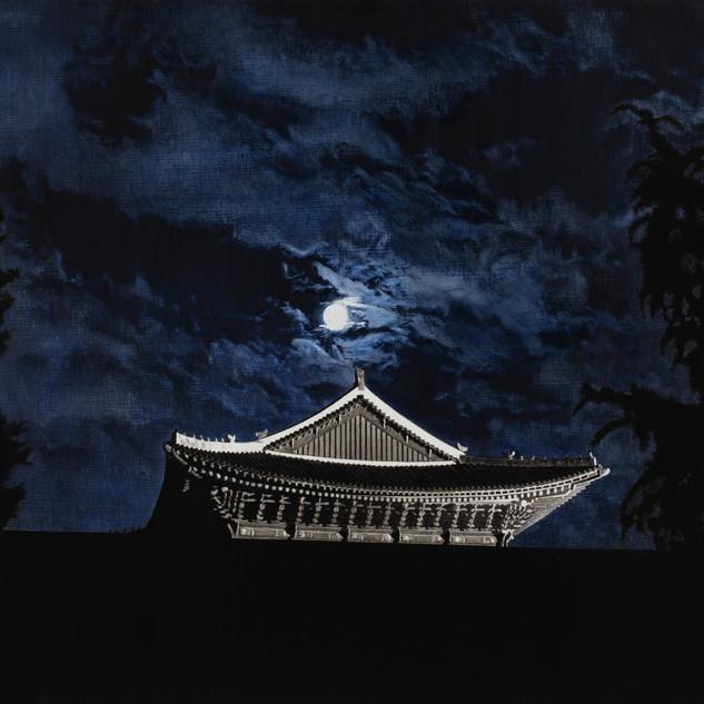 Blue Cloud (경복궁 근정전), 새김, Oil pastel, Acrylic on Canvas, 91x116.8cm, 2021
