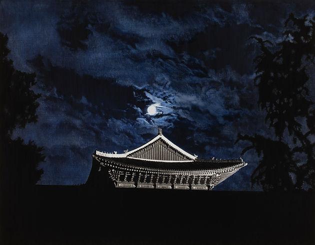 Blue Cloud (경복궁 근정전), 새김, Oil pastel, Acrylic on Canvas, 91x116.8cm, 2021.jpg