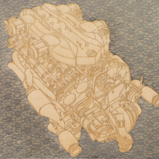 Lamborghini  2013 130.3x193.3cm burned hanji paper and acrylic on canvas