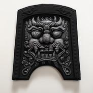 도깨비 (Roof tile with Goblin face, 귀면기와), 새김, Acrylic on Roof tile, 24.7x22x4cm, 2021