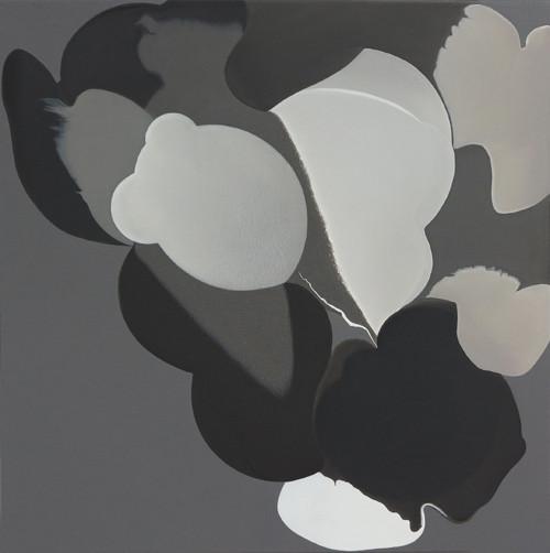crouching toward#2 2010 70x70cm acrylic &mixed media on canvas