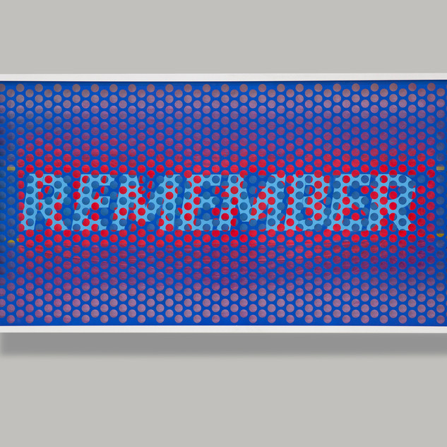Remember We Are Dust 89.2 x 165.4 x 9.8cm Perforated aluminum panel, acrylic, lacquer spray paint, masking vinyl tape, acrylic on paper, wooden frame, antireflection glass 2020