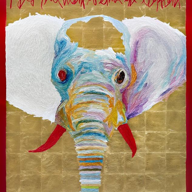 Shooting an elephant oil on canvas 162.2x130.3cm 2019