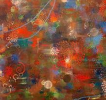 Crimson Bubbles 자주빛 방울 152x213cm oil on
