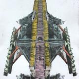 경험의 축2 2012 45x60cm handcolouring over an aquatint