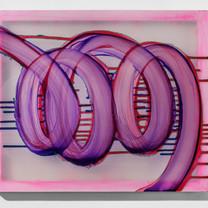 Greenline 60.6 X 50.0 cm acrylic on chiffon, wooden frame 2020