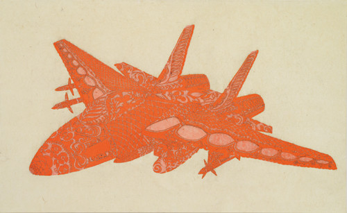 F-14 2013 76x130.3cm burned hanji paper and acrylic on canvas