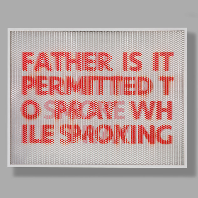 Smoking / Praying 103.2 x 133 x 8.9cm Perforated aluminum panel, acrylic spray paint, acrylic on paper, wooden frame, anti-reflection glass 2020