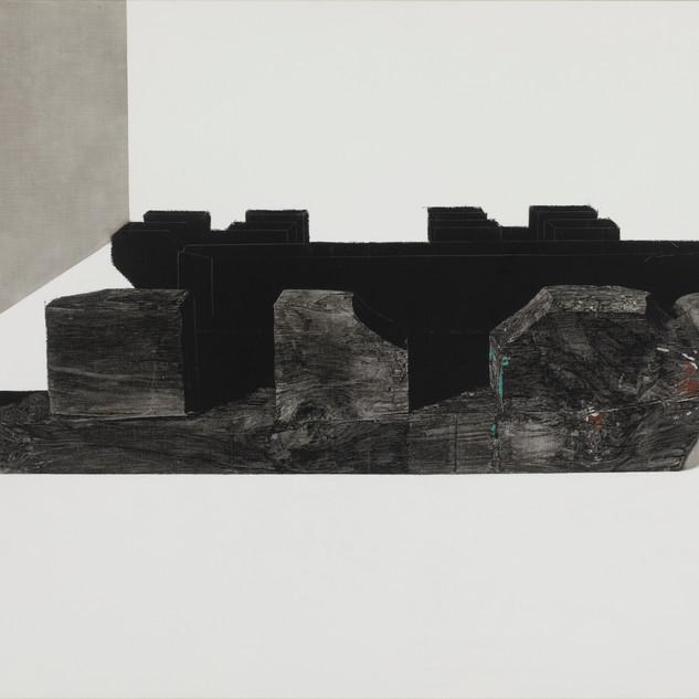 봉황 (Phoenix, 불회사 살미),새김, Oil pastel, Acrylic on Canvas, 72.7x 116.8cm, 2020